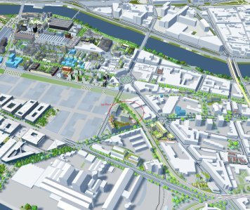 Au sud du quartier de la république, jouxtant l'actuel M.I.N de Nantes, le programme des 5 Ponts s'érigera à l'horizon 2020.